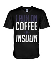 I Run On Coffee And Insulin Diabetes Tee shirts V-Neck T-Shirt tile