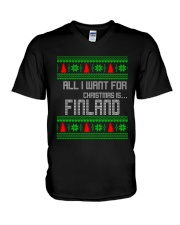 FINLAND CHRISTMAS V-Neck T-Shirt thumbnail