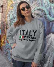 ITALY STORY BEGINS Crewneck Sweatshirt lifestyle-unisex-sweatshirt-front-3