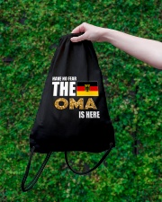 HAVE NO FEAR THE OMA IS HERE Drawstring Bag lifestyle-drawstringbag-front-3