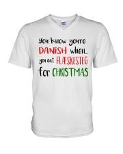 DENMARK FLAESKESTEG CHRISTMAS V-Neck T-Shirt thumbnail