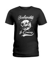FINNISH - JOULUPUKKI IS COMING Ladies T-Shirt thumbnail