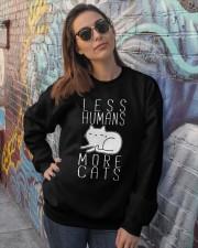 LESS HUMANS MORE CATS Crewneck Sweatshirt lifestyle-unisex-sweatshirt-front-3