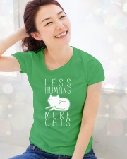 LESS HUMANS MORE CATS Ladies T-Shirt lifestyle-holiday-womenscrewneck-front-1