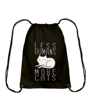 LESS HUMANS MORE CATS Drawstring Bag thumbnail