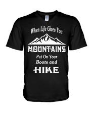 when life gives you mountains hike  V-Neck T-Shirt thumbnail