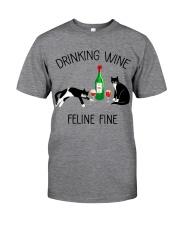 Drinking wine feline fine Classic T-Shirt tile