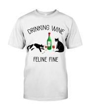 Drinking wine feline fine Classic T-Shirt front