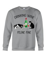 Drinking wine feline fine Crewneck Sweatshirt thumbnail
