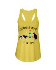 Drinking wine feline fine Ladies Flowy Tank thumbnail