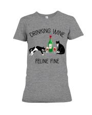 Drinking wine feline fine Premium Fit Ladies Tee thumbnail