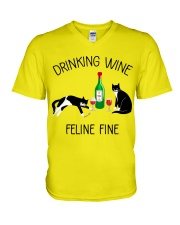 Drinking wine feline fine V-Neck T-Shirt thumbnail