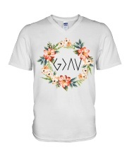 God is greater than the highs and lows V-Neck T-Shirt tile