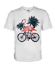 Flamingo bicycle V-Neck T-Shirt thumbnail