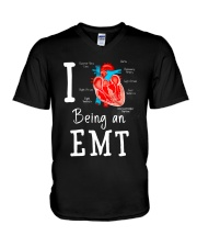 I love being an EMT V-Neck T-Shirt tile