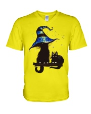 Witches Cat V-Neck T-Shirt thumbnail