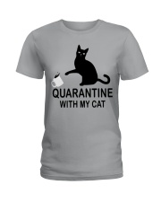 Quarantine with my cat Ladies T-Shirt thumbnail