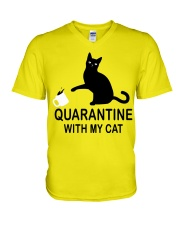 Quarantine with my cat V-Neck T-Shirt thumbnail