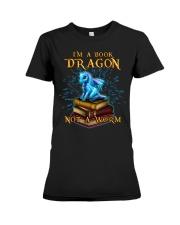 I'm a book dragon not a worm Premium Fit Ladies Tee thumbnail