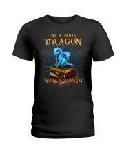 I'm a book dragon not a worm Ladies T-Shirt thumbnail