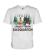 I party with sasquatch V-Neck T-Shirt thumbnail