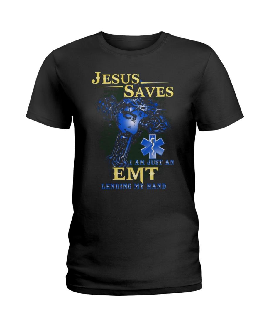 Jesus saves i am just an EMT lending my hand Ladies T-Shirt