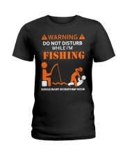 Warning Fishing Ladies T-Shirt thumbnail