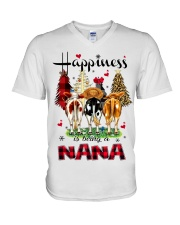 Happiness is being a nana cow christmas V-Neck T-Shirt tile