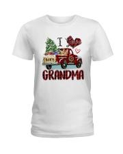 I love being a grandma truck red xmas Ladies T-Shirt tile