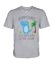 Grampy saurus mug V-Neck T-Shirt tile