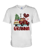 I love being a Granna truck red xmas V-Neck T-Shirt tile