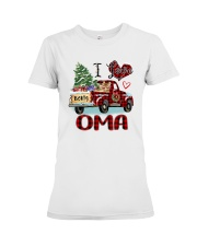 I love being a Oma truck red xmas Premium Fit Ladies Tee tile