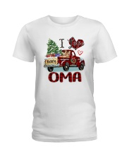 I love being a Oma truck red xmas Ladies T-Shirt tile