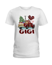 I love being a gigi truck red xmas Ladies T-Shirt tile