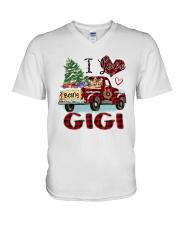 I love being a gigi truck red xmas V-Neck T-Shirt tile