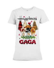 Happiness is being a gaga cow christmas Premium Fit Ladies Tee tile