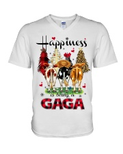 Happiness is being a gaga cow christmas V-Neck T-Shirt tile