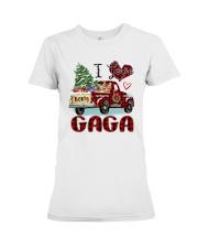 I love being a Gaga truck red xmas Premium Fit Ladies Tee tile