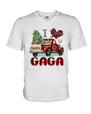 I love being a Gaga truck red xmas V-Neck T-Shirt tile