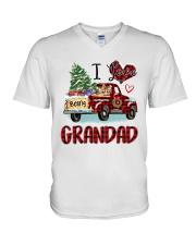 I love being a grandad truck red xmas V-Neck T-Shirt tile
