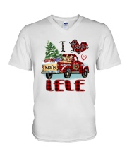 I love being a Lele truck red xmas V-Neck T-Shirt tile