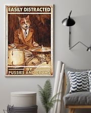 Cat drum easily distracted 11x17 Poster lifestyle-poster-1
