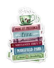 Book coffee sticker Sticker - 6 pack (Vertical) front
