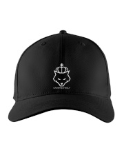 CROWNED WOLF WITH TEXT - BLACK EDITION Embroidered Hat thumbnail