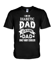 diabetic dad V-Neck T-Shirt tile