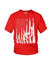 Big American Flag With Machine Guns  Youth T-Shirt thumbnail