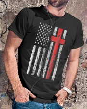 Vintage Distressed USA Flag Christian Shirt Classic T-Shirt lifestyle-mens-crewneck-front-4
