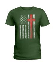Vintage Distressed USA Flag Christian Shirt Ladies T-Shirt thumbnail