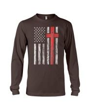 Vintage Distressed USA Flag Christian Shirt Long Sleeve Tee thumbnail