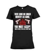 These Guns No Longer Identify As Guns  Premium Fit Ladies Tee thumbnail